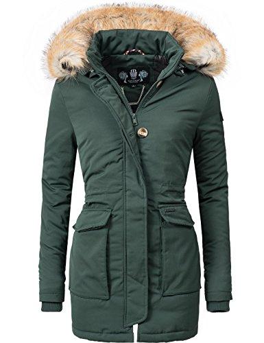 Navahoo Damen Winter-Jacke Winter-Mantel Schneeengel (vegan hergestellt) Grün Gr. XXL
