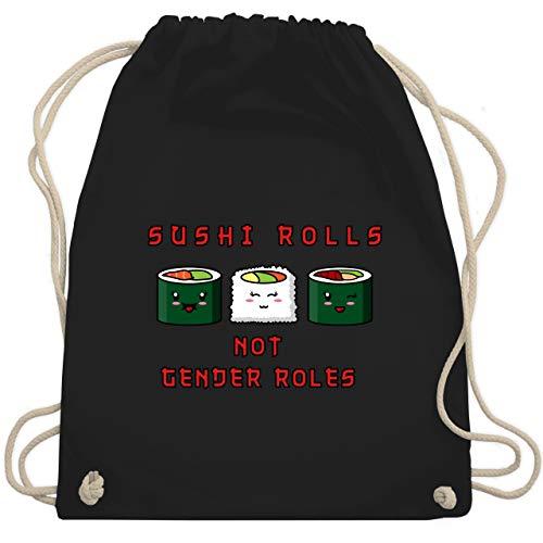 Statement Shirts - Sushi rolls, not gender roles - Unisize - Schwarz - WM110 - Turnbeutel & Gym Bag (Roller Bag Gym)