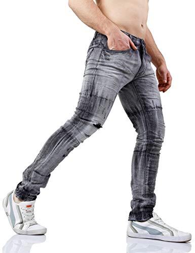 Instinct jeans uomo strappato strappati slim fit estivi elasticizzati denim skinny cotone wa96 (34/48, grigio_t562)