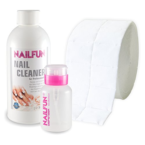 Nail Cleaner 500ml (99,9% Isopropanol) + 500 Zelletten (1 Rolle) + 1 Pumpflasche