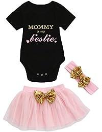 43c1351a8 PAOLIAN Conjuntos Ropa para Niñas Bebe Recien Nacido para Verano Camisetas  Impresion de Alfabeto Mommy Is