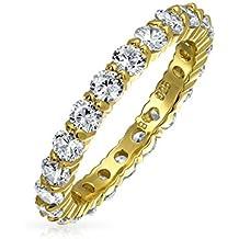 AAA CZ Eternidad banda boda chapado en oro de 14K Anillo de plata esterlina 925