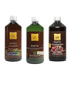 Offerta 3 Succo da Bere di Puro Aloe, Aloe e Mirtillo, Aloe e Melograno
