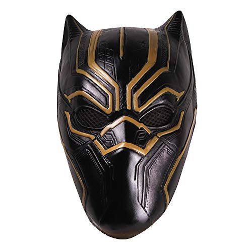 Kostüm America Captain Filme - Captain America 3: Schwarzer Panther Maske Latex Helm Cosplay Kostüm Film Replikat für Erwachsene Kinder Kostümzubehör,Black-OneSize
