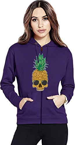 Pineapple skull Womens Zipper Hoodie X-Large