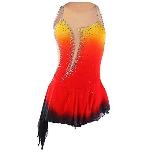 Handarbeit Eiskunstlauf Kleid für Mädchen Rollschuhkleid Wettbewerb Kostüm Ärmellos Eislauf Kleider Orange Schwarz, (Eiskunstlauf Kostüme Über Die Jahre)