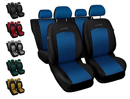Coprisediliauto universale anteriori e posteriori copri-sedile con airbag sistema sport line - nero e blu