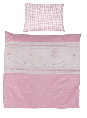 Set Rosa Mädchen Bettwäsche (roba Wiegenbettwäsche 2-tlg, Wiegenset Kollektion 'Glücksengel rosa', Baby Bettwäsche 80x80 (Decke & Kissen), 100% Baumwolle)