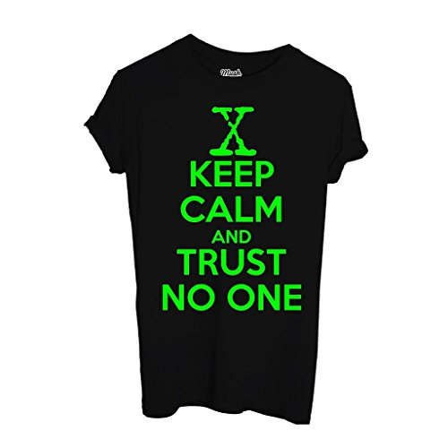 T-Shirt KEEP CALM AND TRUST NO ONE X-FILES - FILM by Mush Dress Your Style - Uomo-XXL-Nera