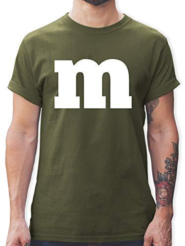 Karneval & Fasching - Gruppen-Kostüm m Aufdruck - XXL - Army Grün - L190 - Herren T-Shirt und Männer Tshirt