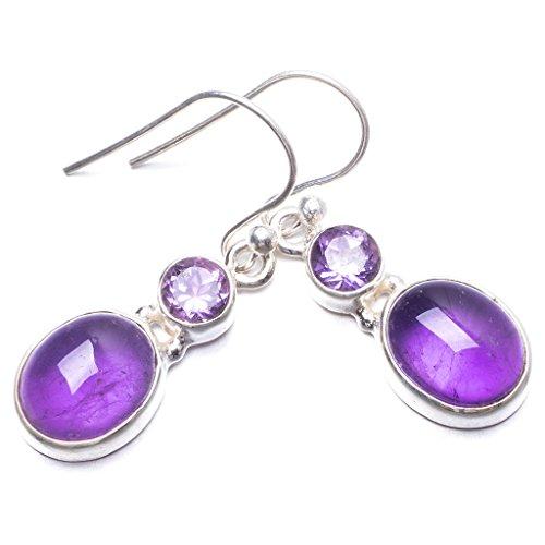 StarGems(tm) 925er Sterling Silber Amethyst Einzigartig Handgefertigt Ohrringe 3,18cm Purple Y2938