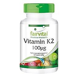 Vitamin K2 MK-7-100µg (mcg) pro Kapsel - All-Trans Menaquinon MK-7 - Natürlich und fermentiert aus Natto - VEGAN - 90 Kapseln