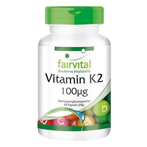 Vitamin K2 100µg, natürlich, 94{f4e002a0d8984c611e8d954ce194f0882683a5f6f3716a6cc3dbb32ff33847ce} all-trans MK-7, Menachinon, vegan, ohne Magnesiumstearat, 90 Kapseln, 3-Monatspackung
