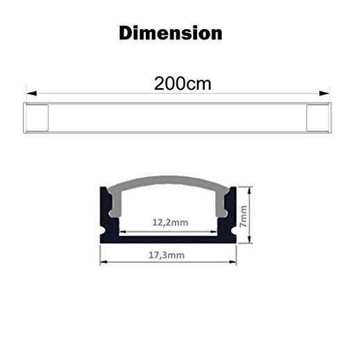 Eurekaled – Profilo in Alluminio U da 2 metri per Strisce LED con Copertura OPACA, Tappi e Ganci inclusi cod. 1189 confronta il prezzo