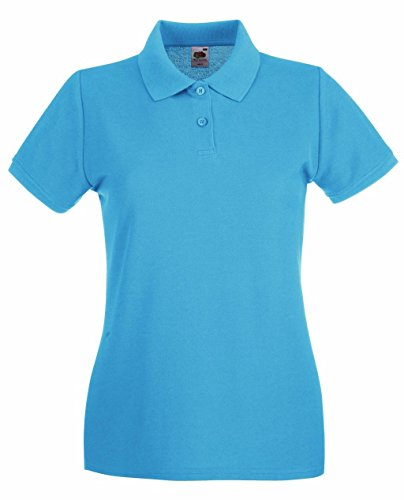 Fruit of the Loom Damen Poloshirt Premium Polo Lady-Fit Azure Blue