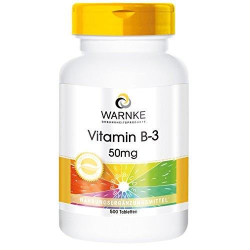 Warnke Gesundheitsprodukte Vitamin B-3 50mg - 500 Tabletten - Niacin - Reinsubstanz - Großpackung