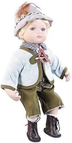 PEARL Deko-Puppe Porzellan: Sammler-Porzellan-Puppe Anton mit bayerischer Tracht, 36 cm (Sammelpuppe) (Hut Lieferanten Dekorationen)
