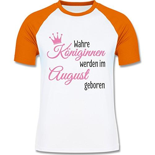 Geburtstag - Wahre Königinnen werden im August geboren - zweifarbiges Baseballshirt für Männer Weiß/Orange