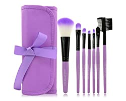 Hosaire 7pcs Makeup Brushes Make Up Brushes Professional Make Up Makeup Brush Set With Leather Case, Purple