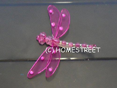 Homestreet Dragonfly, Flügel, Mesh und Clip auf der Rückseite, 9 cm, Deko-Libelle kirschrot Glitter Mesh Wings