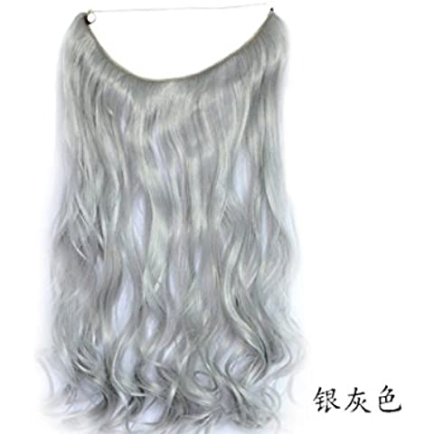 Lola Hair Silver Gray Mirco Ring Hair Extension Curly Weave Transparent Wire (Body Curly Transparent Wire/no Clips) by Lola