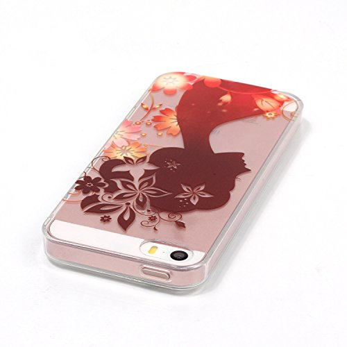 TOCASO Copertura di Cover in TPU Case per Apple iPhone 5 / 5S/ SE Custodia Silicone, Gomma Custodia Ultra Sottile Shock-Absorption shell protettivi Bumper Covers Alto Morbido Clear Gel Sottile Conchig Donna e fiori