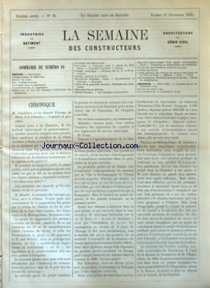 SEMAINE DES CONSTRUCTEURS (LA) [No 25] du 19/12/1885
