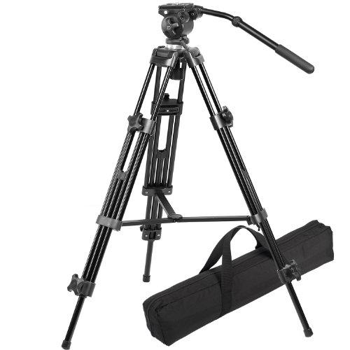 RAVELLI AVTP Treppiede Professionale con Culla Universale da mm 75 per Videocamera, con Testa per Riprese Video a Rotazione Fluida.
