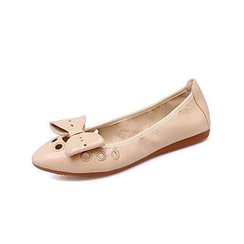 AalarDom Damen Weiches Material Ziehen Auf Spitz Zehe Niedriger Absatz Pumps Schuhe Aprikosen Farbe