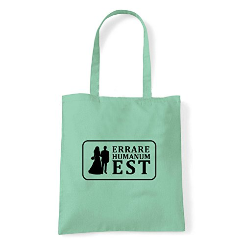 Art T-shirt, Borsa Shoulder Errare Humanum Est, Shopper, Mare Menta