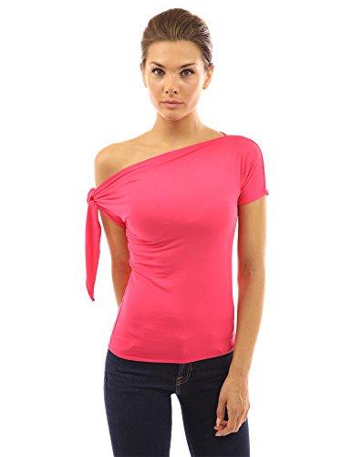 PattyBoutik Donne legato top a manica corta spalla (rosa corallo 50)