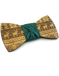 GIGETTO Noeud papillon en bois, Fait Main, Homme Femme, avec lien d'attache en tissu ajustable, Limited Edition PATTERN