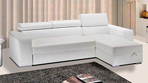Divano letto angolare ecopelle bianco vano contenitore moderno salotto | sofia