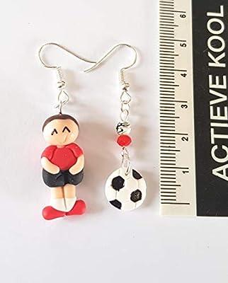 boucles d'oreilles foot, footballer, ballon de football,noir et blanc,ballon rond,joueur de foot