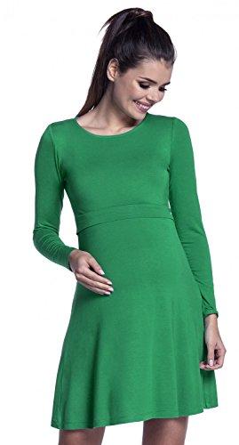 Zeta Ville – Stillen A-Linie Kleid Schwangere Rundhalsausschnitt – Damen – 128c (Grün) - 3