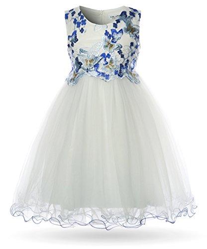 CIELARKO Mädchen Kleid Schmetterling Prinzessin Hochzeit Festkleid Kleider Ärmellos (2-3 Jahre (Herstellergröße: 110) , Weiß) (Girls White Party Kleider)
