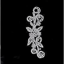 1 x Diamantes De Imitación De Cristal Diamante Motivo Parche Aplique Boda Para Coser - Plateado, MDM-08 - 170x40mm