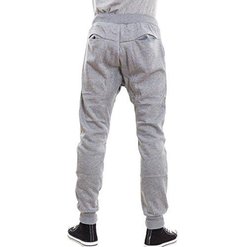 Toocool - Pantaloni uomo tuta cavallo basso harem turca felpati zip fitness nuovi K117 Grigio chiaro