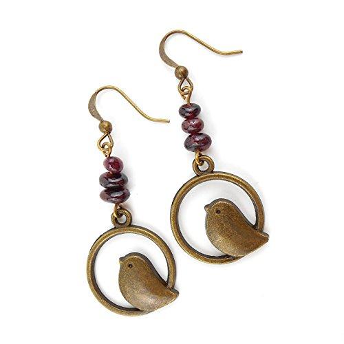 long-drop-bird-earrings-with-deep-red-garnet-gemstones