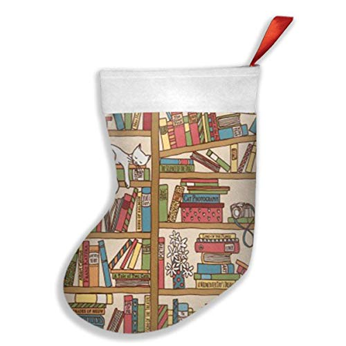 QUEEKINWANG Nerd Book Lover Kitty Sleeping Over Bookshelf in Library Xmas Christmas Stockings Xmas Party Mantel Decorations Ornaments Decoration Kids Gift Holding Stocking Tree Ornament