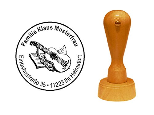 Stempel Holzstempel Motivstempel « KONZERTGITARRE » mit persönlicher Adresse - Guitarrist Gitarre Akustikgitarre (Lackierte Gitarre)