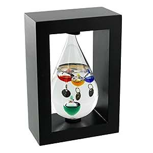 Cadre en bois goutte Galileo Thermomètre en verre noir