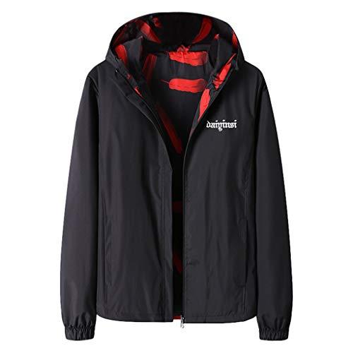 Qinhanjia Herren Herbst Winter Casual Print doppelseitige Wear Jacke Mantel, doppelseitige Kapuze Bomberjacke Baseball Uniform Jacke (Schwarz,M)