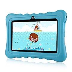 Idea Regalo - Ainol Q88 Tablet per Bambini da 7 Pollici, Android 7.1 RK3126C Quad Core 1GB+8GB Tablet Educativo, con Custodia in Silicone Stander, WiFi Doppia Fotocamera, Blu
