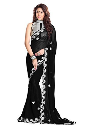 Sourbh Sarees Black Faux Georgette Must Have Best Sarees for Women Party Wear, Special Karwa Chauth Gifts for Wife, Women Clothing Collection