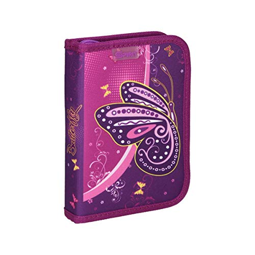 Spirit Estuche Escolar con diseño de Mariposas, 1 Cremallera, 50 Piezas.