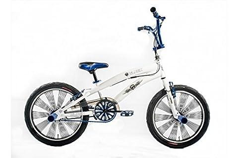 Vélo Garçon Altec BMX Freestyle 20 Pouces Frein V-Brake et Repose-Pieds 85% Assemblé Blanc Bleu