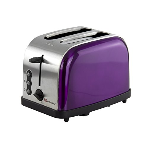 SQ Pro Legacy 900W grille-pain avec fonction réchauffage et décongélation, disponible en bleu clair, rose, vert menthe, noir, argent, rouge et violet 900 watts. violet