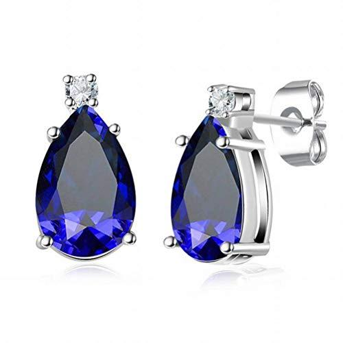 BinLZ Platin Wassertropfen Saphir Ohrringe Temperament Weiblichen Schmuck Einfache Ohrringe, Gold (Platin-saphir-ohrringe)
