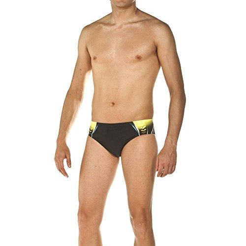 arena Herren Badehose Slip One Placed Print (UV-Schutz, Kordelzug für intensives Schwimmen, Chlorresistent), Black-Soft Green (506), 8